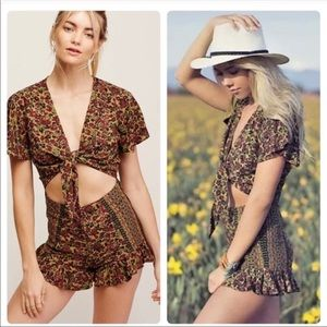 Free People Green Surf Date Romper Sz 0